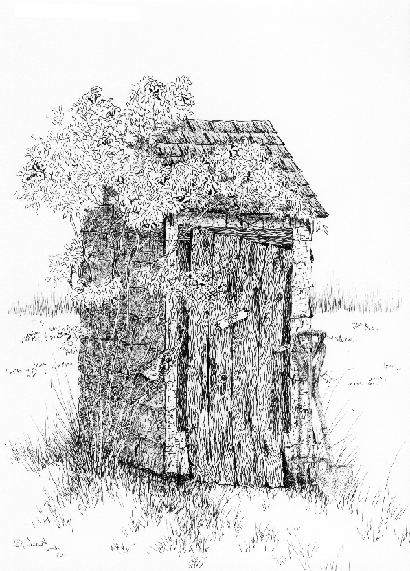Pen & Ink Drawing: Outhouse